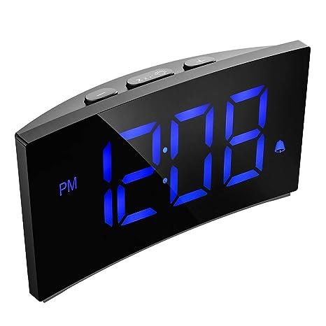 Amazon.com: Digital Alarm Clock Pictek 5 Inch Dimmable LED ...