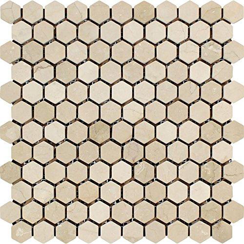 - Tumbled Crema Marfil Mediterranean Marble Hexagon Mosaic, 1 x 1
