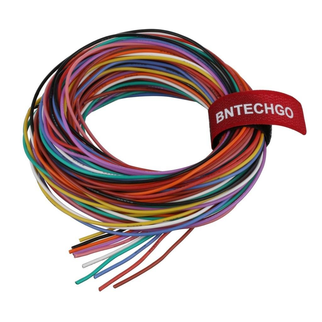 BNTECHGO 24 Gauge Silicone Wire Ultra Flexible 10 ft Red 10 ft Black and 10 ft White High Resistant 200 deg C 600V 24 AWG Silicone Rubber Wire 40 Strands of Tinned Copper Wire Stranded Wire for Model bntechgo.com