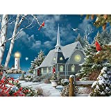 Bits and Pieces - 500 Piece Jigsaw Puzzle for Adults - Guiding Lights - 500 pc Winter at NightJigsaw by Artist Alan Giana