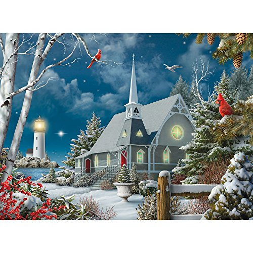 Bits and Pieces - 500 Piece Jigsaw Puzzle for Adults - Guiding Lights - 500 pc Winter at Night Jigsaw by Artist Alan Giana