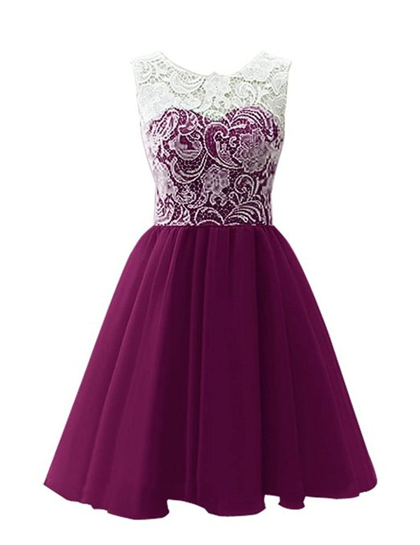 Dark Purple CCBubble Lace Homecoming Dresses O Neck Short Graduation Party Dress