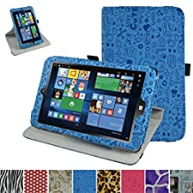 """Insignia NS-P08W7100 Rotating Case,Mama Mouth 360 Degree Rotary Stand With Cute Lovely Pattern Cover For 8"""" Insignia Flex NS-P08W7100 Windows 10 Tablet 2016,Blue"""
