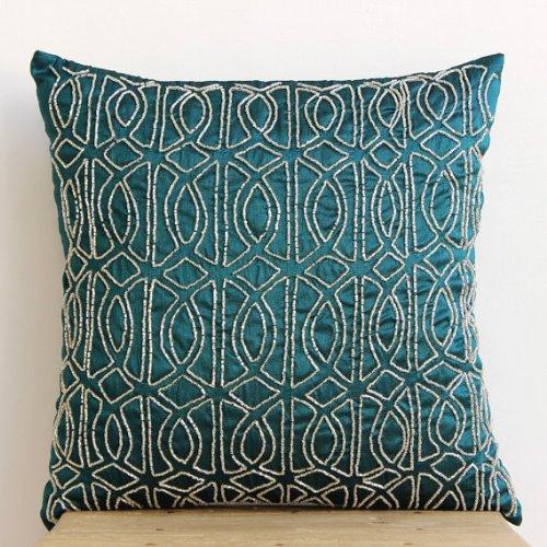 Designer Royal Peacock Green Euro Pillow Shams, 26