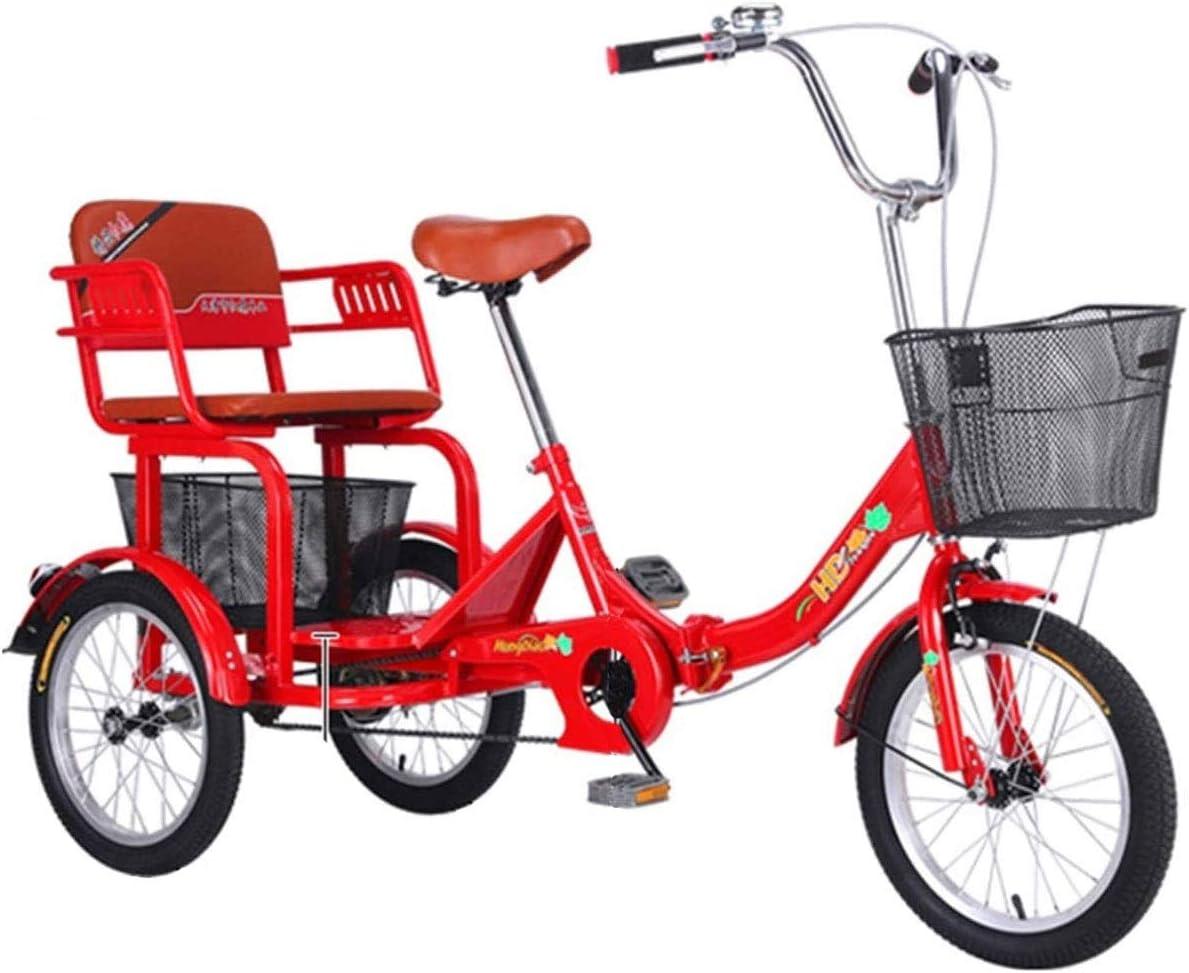 ZNND Bicicletas reclinadas Plegable Triciclo para Adultos Personas Mayores Bicicleta De 3 Ruedas 16 Pulgadas Pedal De Ejercicio Hombres Mujeres con Cesta De La Compra Grande