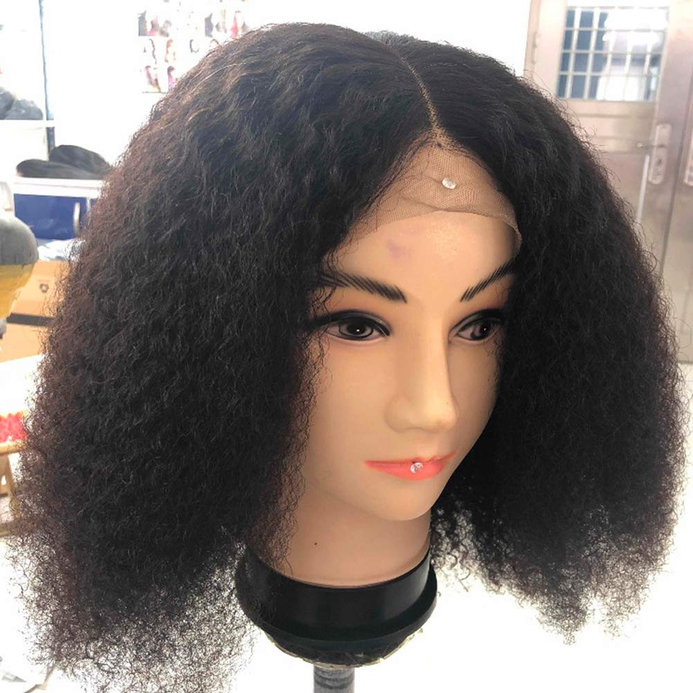 Mongolian Afro Kinky Curly 360 Lace Frontal Wig Pre Plucked With Baby Hair 4B 4C Curly 360 Full Lace Frontal Human Hair Wig For Women 150 Density Natural Black Color 16''inch by Beauty Youth (Image #6)