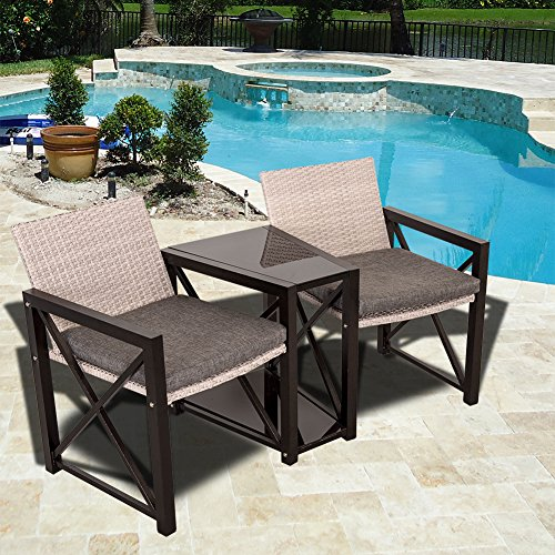 Sundale Outdoor Deck Wicker Table and Chairs Set Patio Wicker Conversation Furniture Set with Padded Cushions (Cheap Outdoor Table And Chairs Set)