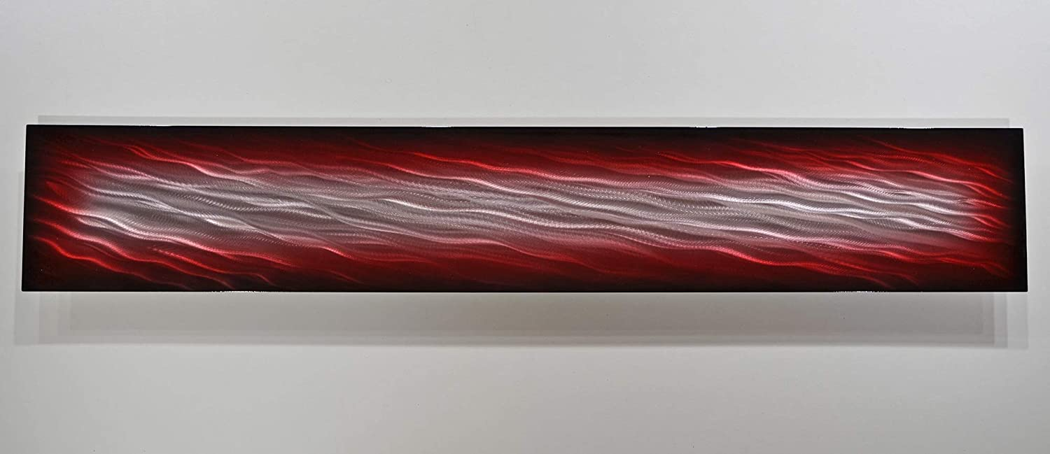 9x48 red black silver METAL painting art home aluminum sculpture wall decor picture Modern artwork by Artist Lubo Naydenov