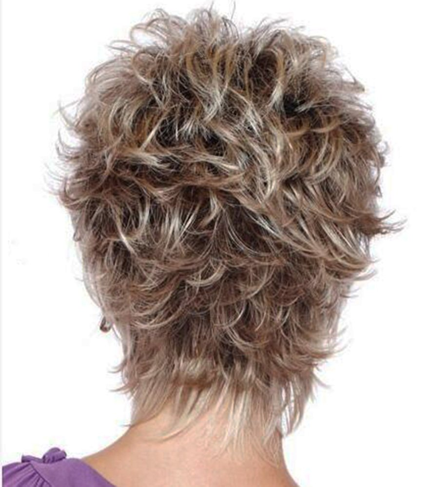 YIMANEILI Short Straight Fluffy Gradient Bob Hair Wigs for Women(Brown Gradient Gray) by FENCAA (Image #2)