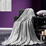 smallbeefly Grey Digital Printing Blanket Picture of Smooth Oak Wood Texture in Old Fashion Retro Style Horizontal Nature Design Print Summer Quilt Comforter Gray