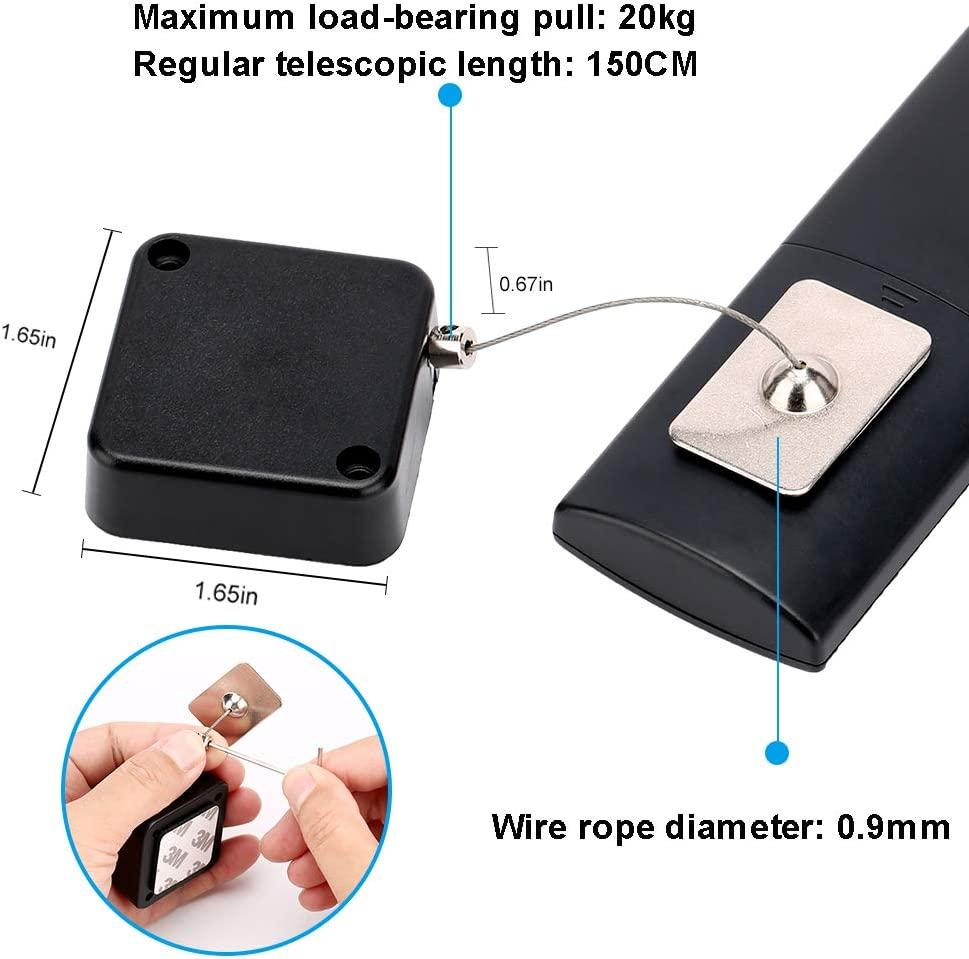 DVD Remote Control Anti-Lost Rope for TV Hardware Security Cable Lock Loradar Retractable Laptop Lock with Double-Sided Adhesive Remote Control Security Lock Anti Theft Lock