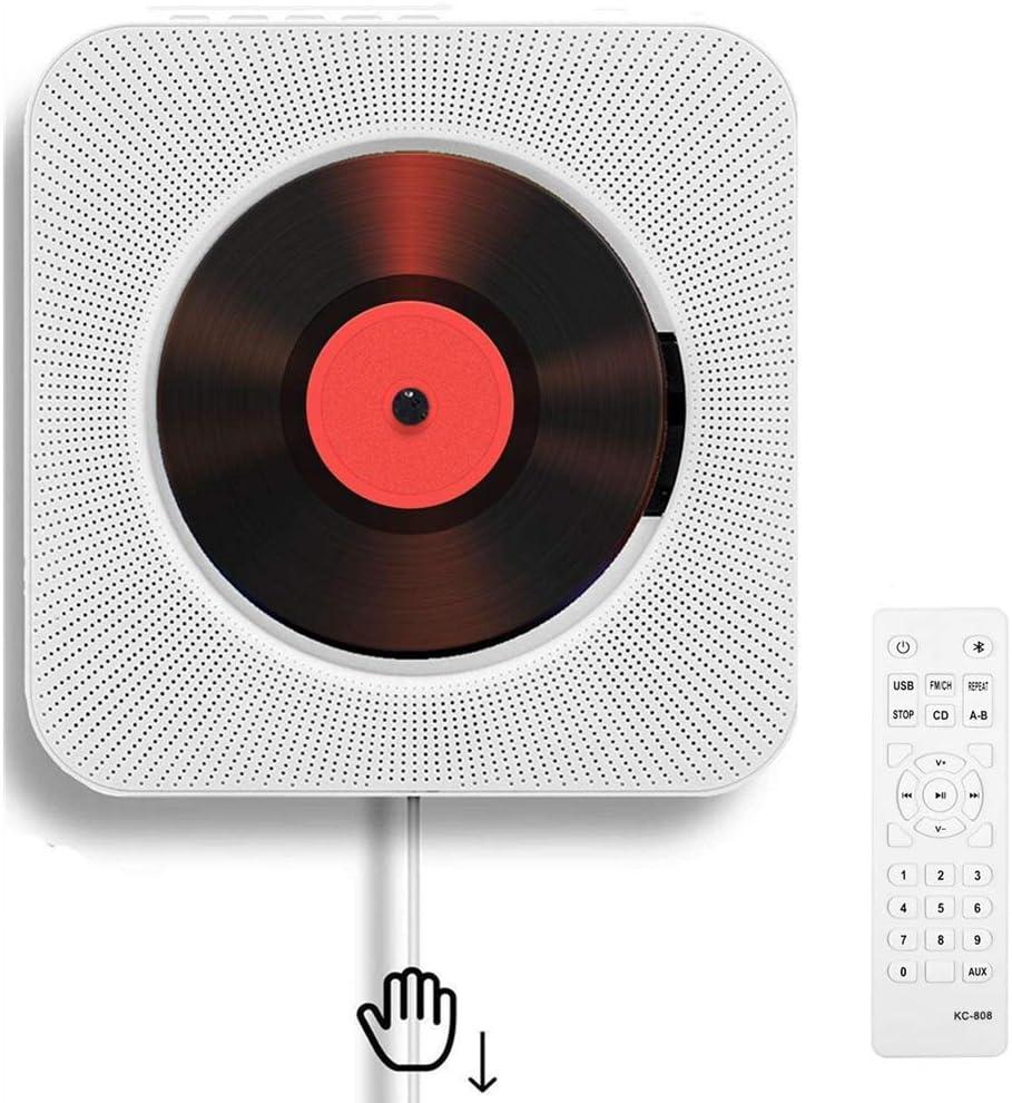 Reproductor de CD portátil con Bluetooth Reproductor de CD montable en la Pared Altavoces de Alta fidelidad incorporados para Control Remoto doméstico Reproductor de CD