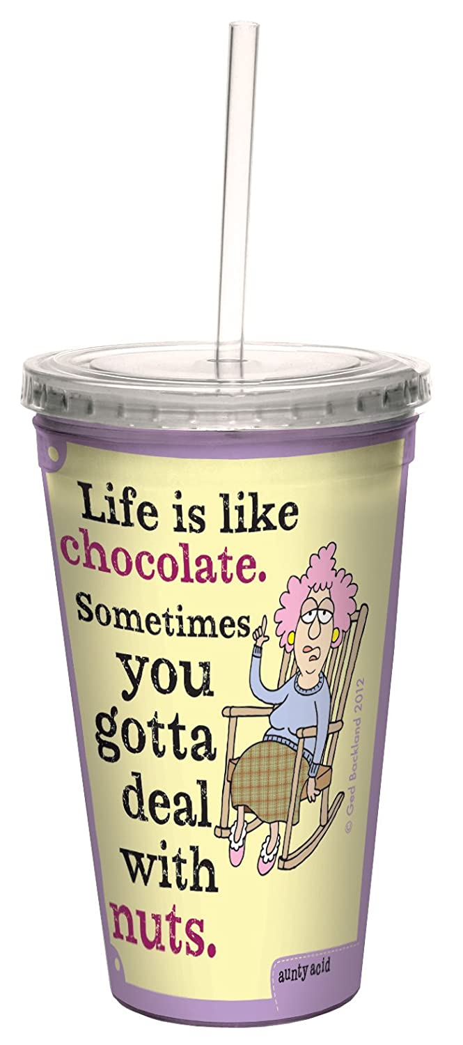 Tree-Free Greetings cc33847 Hilarious Aunty Acid Double-Walled Cool Cup with Reusable Straw, Nuts, 16-Ounce