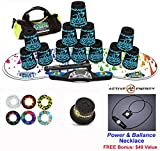 Speed Stacks Combo Set ''The Works'': 12 TATTOO 4'' Cups, RAINBOW DROP Gen 3 Mat, G4 Pro Timer, Cup Keeper, Stem, Gear Bag + Active Energy Necklace