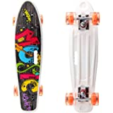 YF YOUFU 22/23 Inch Beginner Skateboard for Girls/Boys, Plastic Deck Cruiser Complete Mini Skateboards for Beginners…