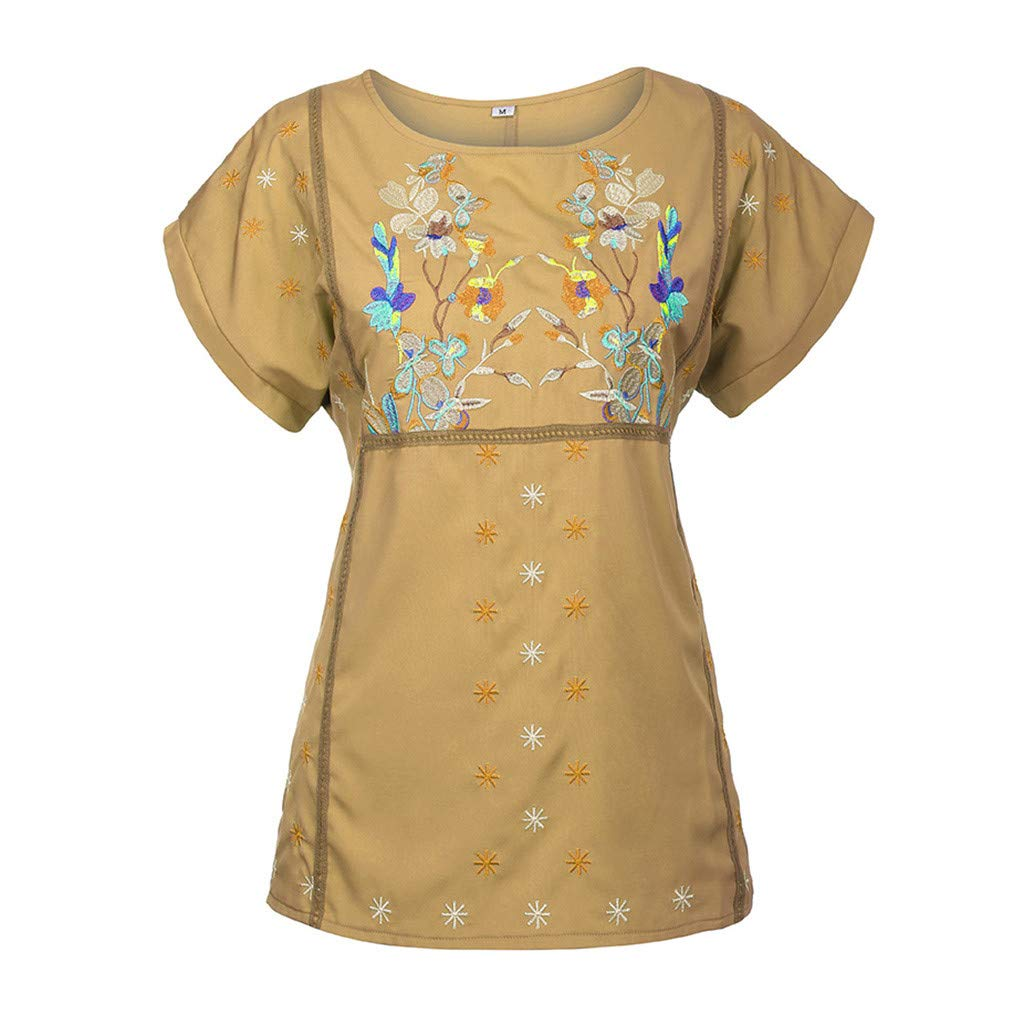 〓COOlCCI〓Women's Embroidery Mexican Bohemian Tops Shirt Tunic Blouses National Style Short Sleeve Loose Blouse Top Tees Yellow by COOlCCI_Womens Clothing (Image #2)