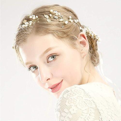 super qualité ventes spéciales design professionnel Fleur Cheveux Mariage cheveux en perle à la main en or ...