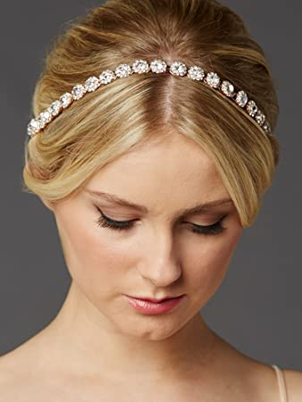 Image Unavailable. Image not available for. Color  Mariell Rose Gold  Wedding Bridal Headband ... 9fe90fa9133