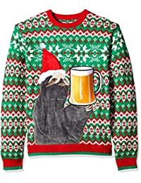 Blizzard Bay Mens Sloth Beer Pocket Ugly Christmas Sweater Sweater
