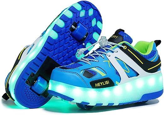 Unisex LED Luz Flash Zapatos De Roller con USB Recargable Automática Ruedas Patines Zapatillas,Led Luz Automática de Skate Zapatillas Deporte Gimnasia Running Zapatillasblue-40 EU: Amazon.es: Hogar