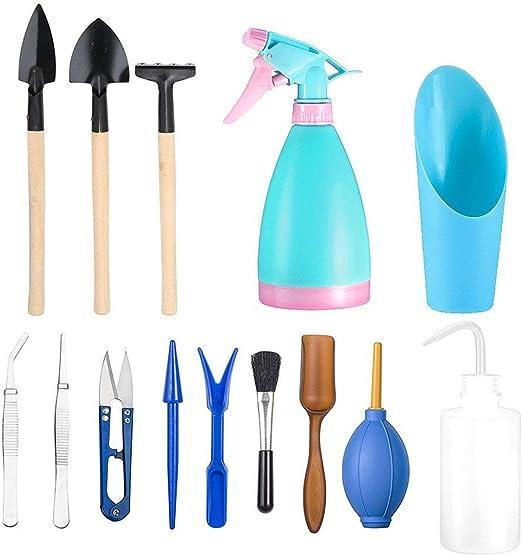 14 piezas/set de herramientas para plantas suculentas, mini herramientas de mano de jardín de hadas, kit de herramientas de jardín para trasplantar plantas, jardinería, mini cubo: Amazon.es: Jardín