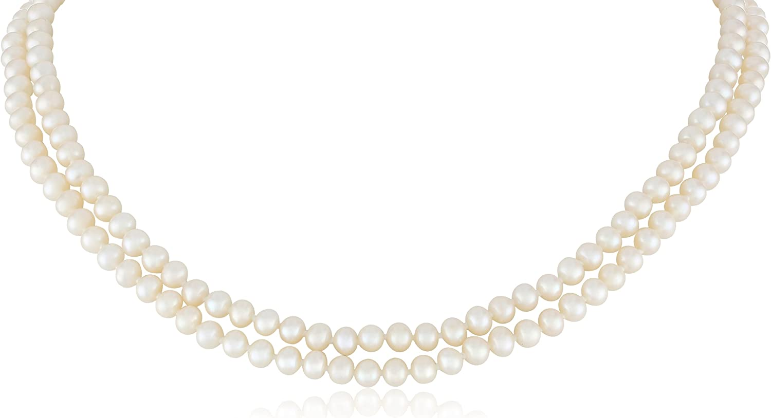 20/'/' 2 Rows White Pearl Necklace CZ Keshi Pearl Pendant