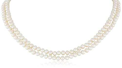 Sterling Silver 2-Row White Freshwater Cultured A Quality Pearl Necklace 5.5-6mm , 17 and 18