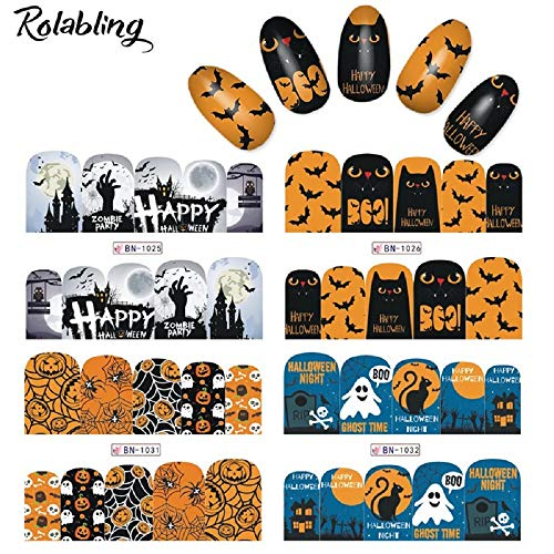 Rolabling Halloween Nail Sticker Nail Decals Nail Art Water Transfer Tattoo Sticker Decal for Kids and Women 12 Sheets DIY Nail art Tools (Halloween) ()