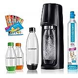 Sodastream Easy Vattenbubblare med Co2-Cylinder, 2 x 1 L flaska, 2 x 0,5 L Flaska, 6 x små provpaket, Svart