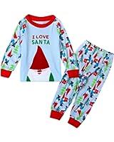 BOBORA Little Boys' Christmas Sleepwear Cotton Pajamas Sets T-Shirt & Pants Set