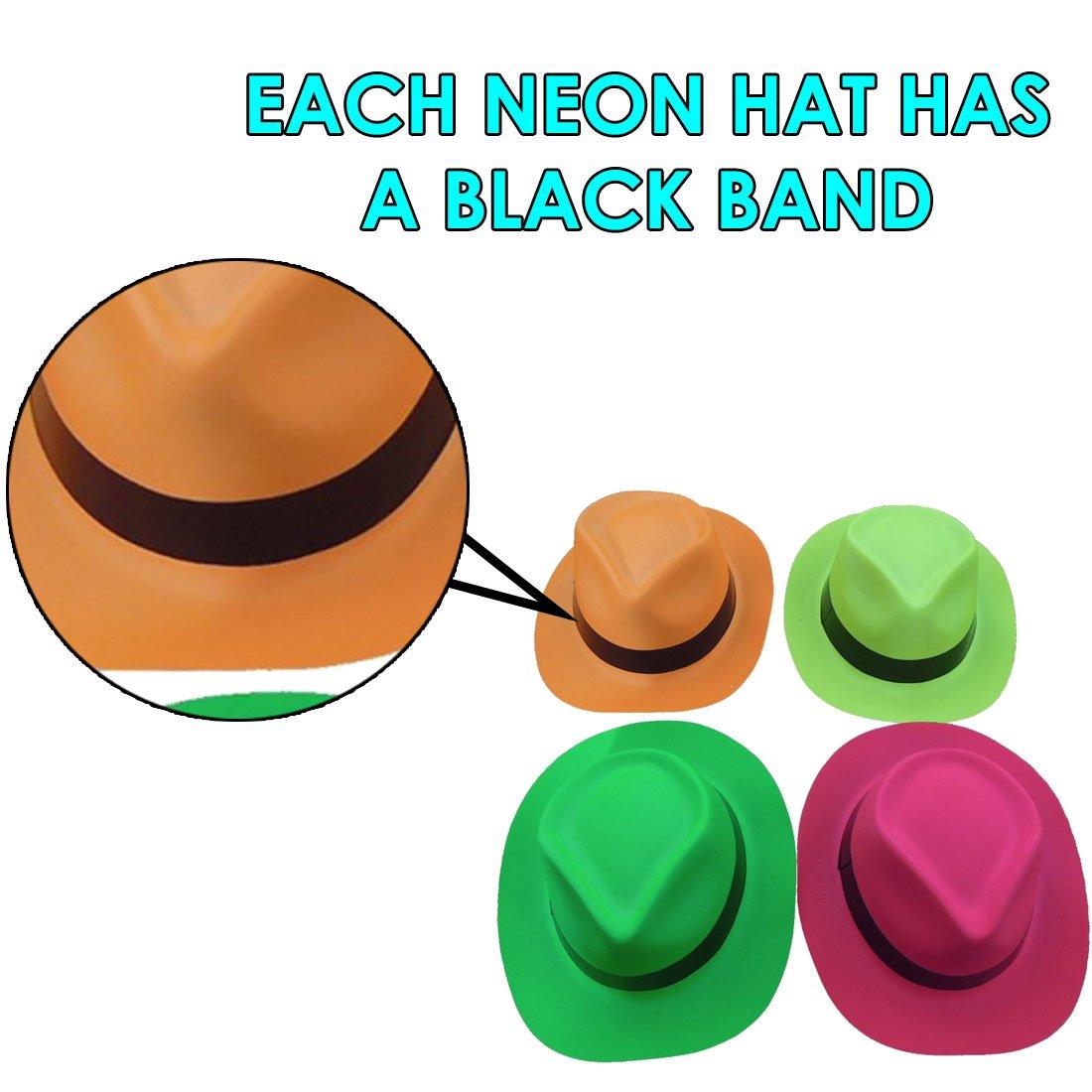 5a4da660658 Neon Plastic Gangster Hats - 24 Pack - Dress Up Toy