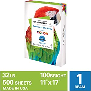 Hammermill Premium Color Copy 32lb Copy Paper, 11 x 17, 1 Ream, 500 Sheets, Made in USA, Sustainably Sourced From American Family Tree Farms, 100 Bright, Acid Free, Color Copy Printer Paper, 102660R, White