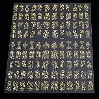 Warm Girl Sliver & Gold 3d Flower Nail Art Stickers Decals Stamping Diy Nail Decoration Tools 4