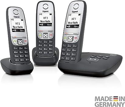Gigaset A415A Trio - Teléfono inalámbrico (DECT, 50 m, 300 m, 100 entradas) Negro: Amazon.es: Electrónica