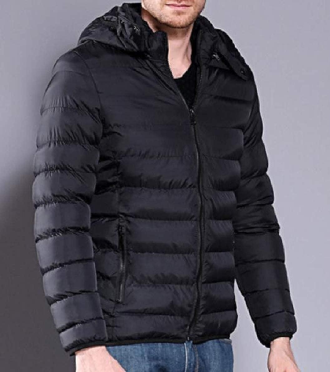 Zimaes-Men Warm Hood Zip-up Waterproof Outwear Winter Parka Jacket Coat Outwear