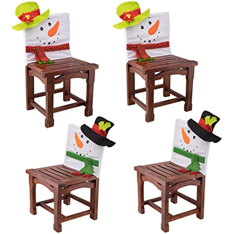Charmgirl 4 Pack Christmas Chair Back Covers Snowman Hat Kitchen Chair Covers Xmas Decorations