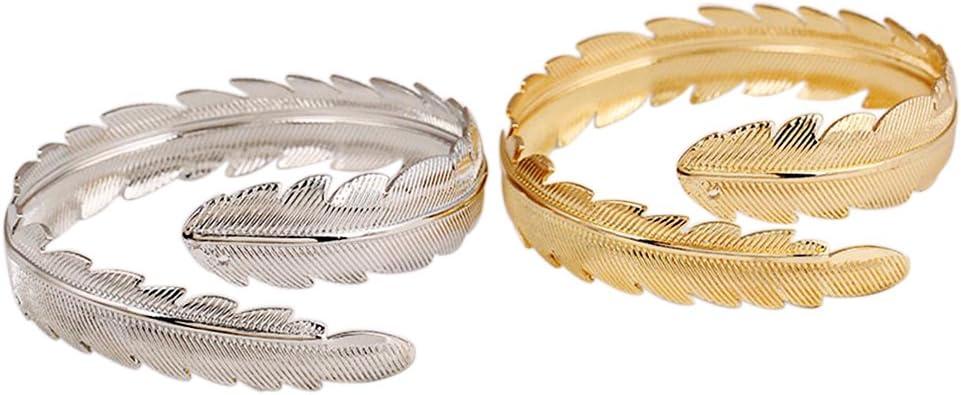 iwensheng tono dorado pluma brazo brazalete Cuff pulsera Set para ...