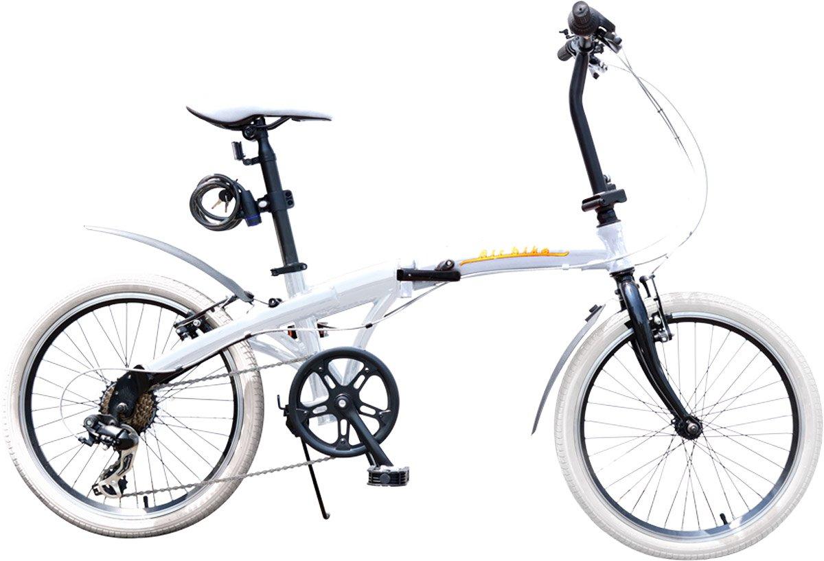 Airbike 折りたたみ自転車 ミニベロ 20インチ シマノ7段変速 軽量アルミフレーム B07DC334JQ ホワイト ホワイト