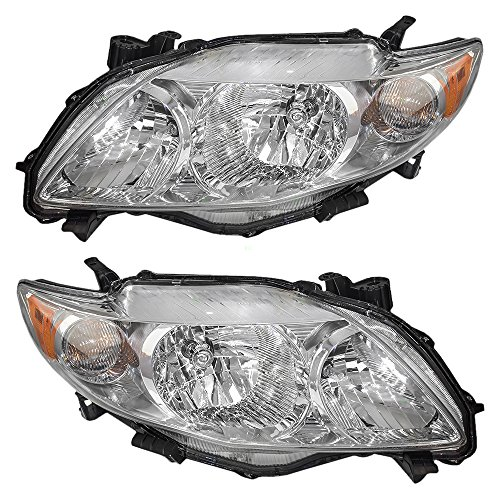 Halogen Headlights with Chrome Housing for 09-10 Toyota Corolla Pair Set Driver and Passenger Sides Replaces 81150-02670 81110-02670 8115002670 8111002670