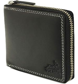 Geldbörse Portemonnaie mit Reißverschlussfach weiches Echt Leder Schwarz 005