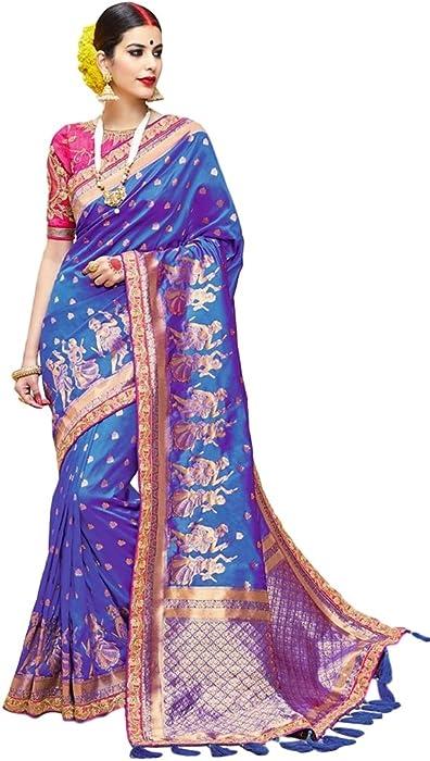 c2e7f2f5ca3fb5 EthnicWear Art Silk Blue Indian Pakistani Traditional Cultural Party Wear  Zari Embroidered Patch Saree Sari