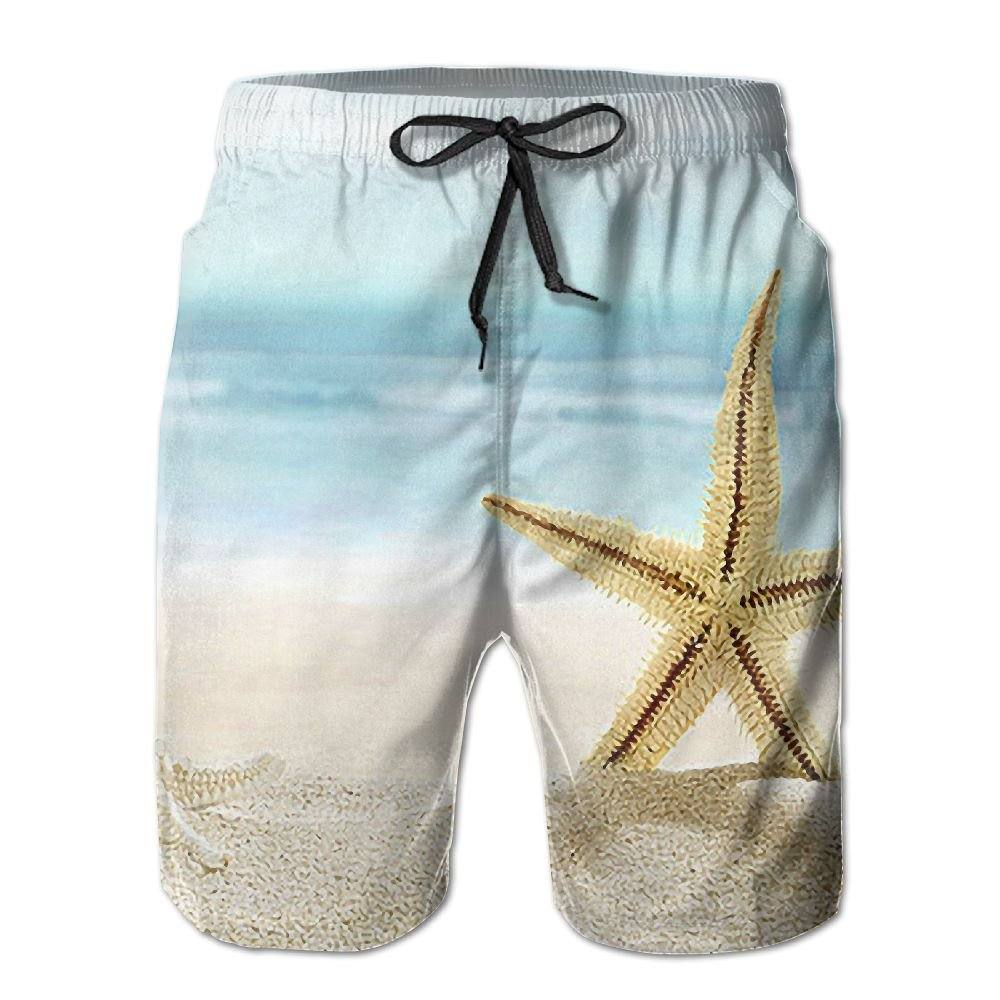 Jieruikam Mans Shorts Fine Sand Shell Quick-Dry Beach Swim Trunks High Waisted Board Pants XL