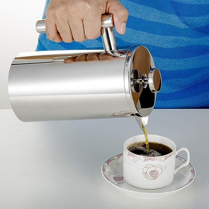 LZLGA Cafetera De Prensa Francesa, Filtro De Café con Cuchara De Medir Y Cepillo De Limpieza, Acero Inoxidable,1000ML: Amazon.es: Hogar