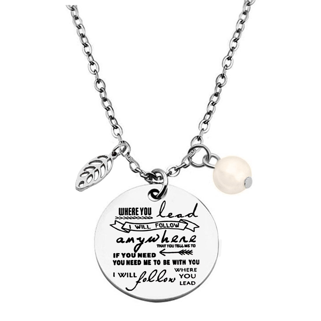 ZUOBAO Where You Lead I Will Follow Anywhere Dog Tag Pendant Necklace and Keyring for Mother and Daughter