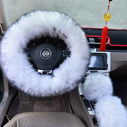 amazon com ogrmar winter warm faux wool steering wheel cover withogrmar winter warm faux wool steering wheel cover with handbrake cover \u0026 gear shift cover for