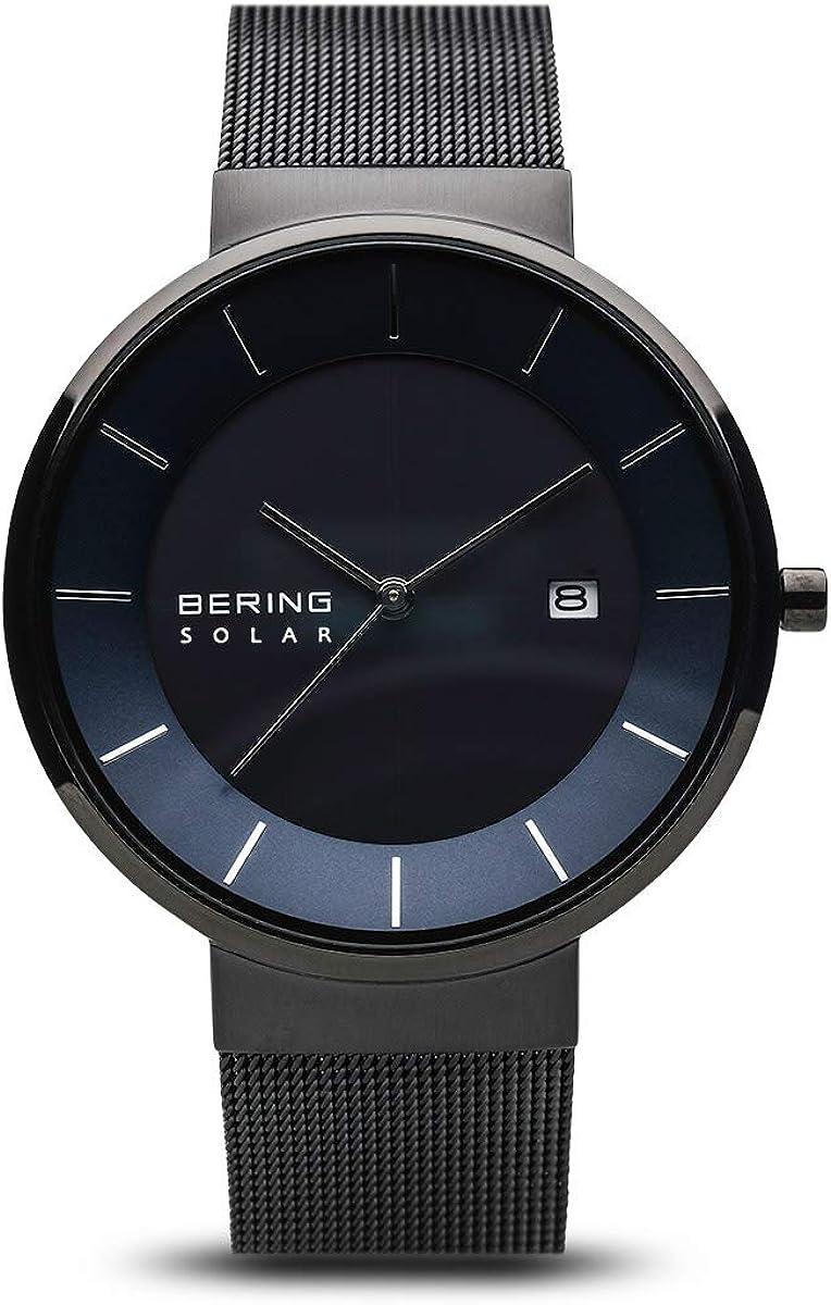 BERING Reloj Analógico para Hombre de Energía Solar con Correa en Acero Inoxidable 14639-227
