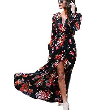 Honestyi Mujer Faldas, Vestido de fiesta largo de la playa de la impresión de las