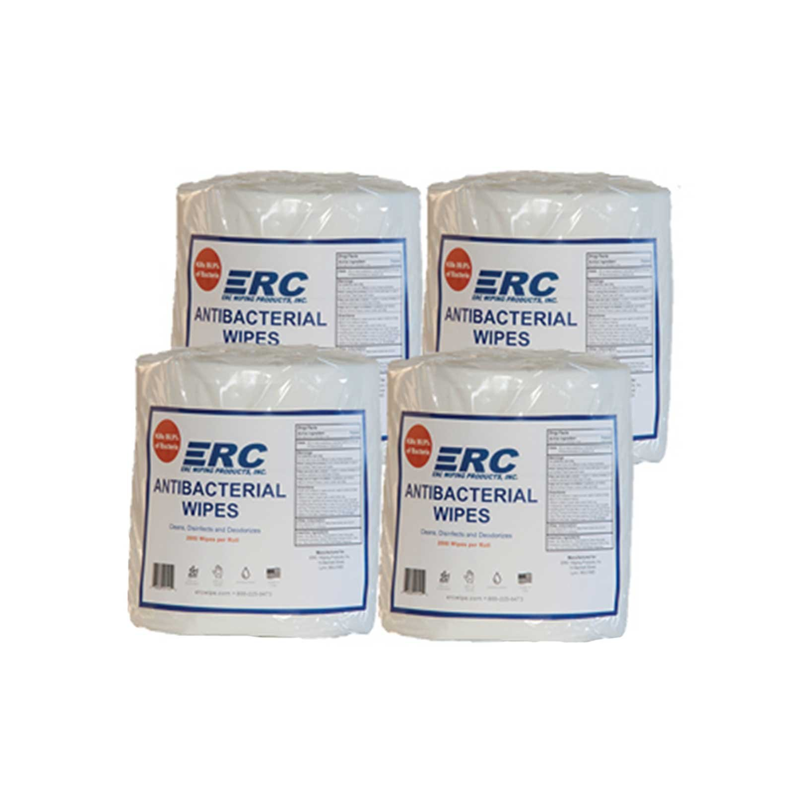 ERC Wiping Products Jumbo Rolls Antibacterial Equipment & Hand Wipes 4 Pack (8000 Wipes)