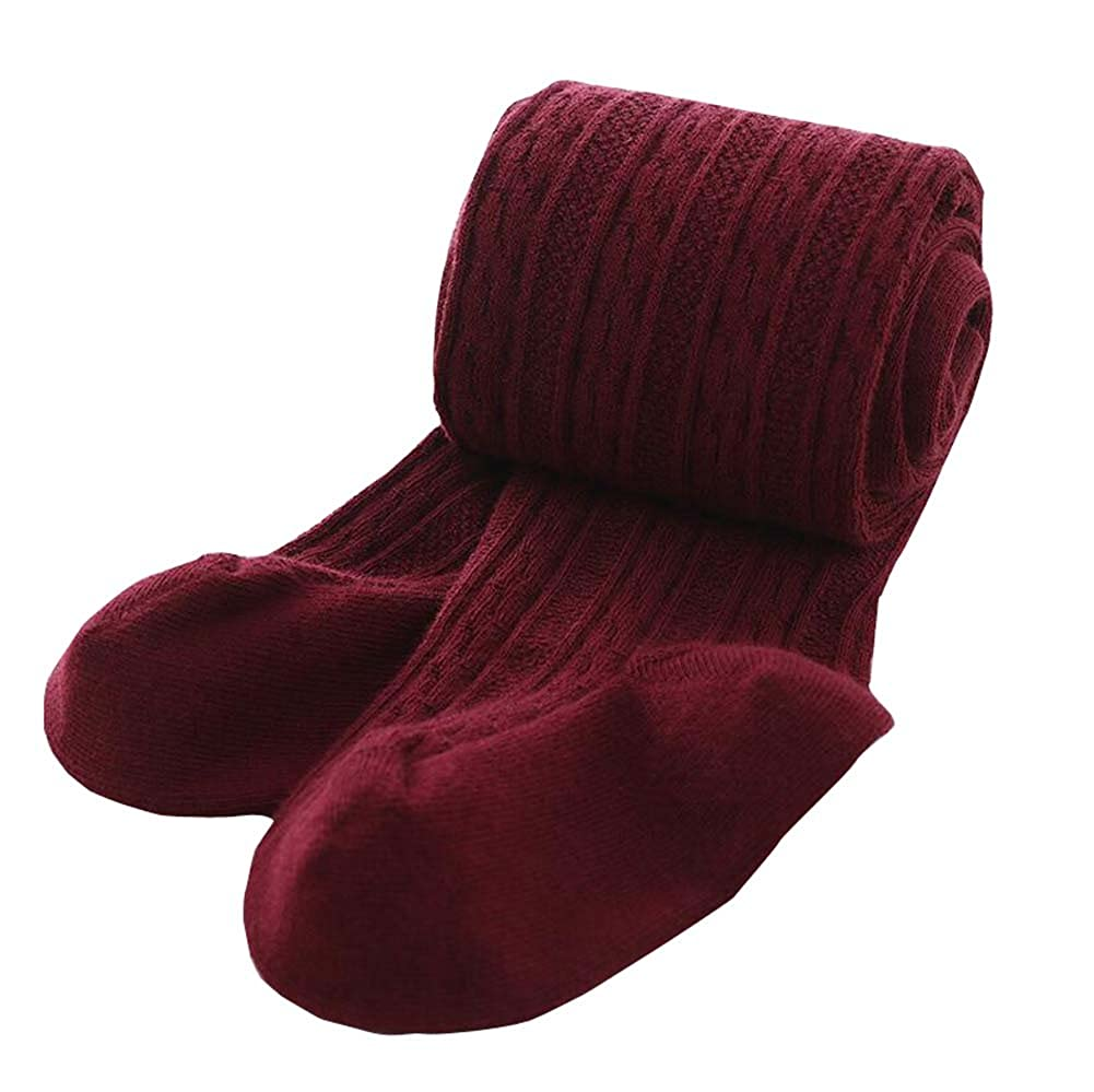 DRAGON SONIC Wine Red Kids Girls Soft Cotton Pantyhose Socks Winter Tight Stockings