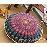 """Bohemian Décor Floor Cushion Cover - 30"""" Round Floor Pillow Pouf Cover - Colorful Orange 100% Hand Printed Organic Cotton by Mandala Life ART"""